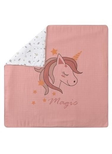 Miespiga Miespiga Unicorn Çift Taraflı Kullanılabilir Kız Bebek Oyun Halısı Pembe
